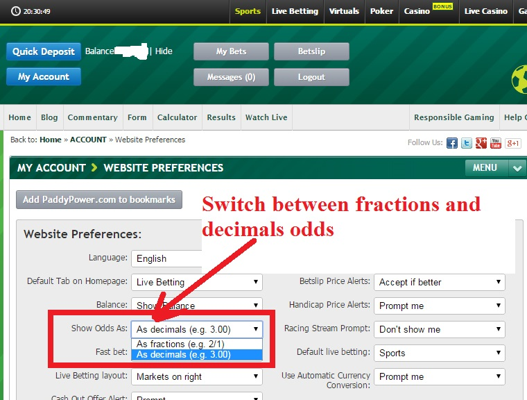 Switch between Fractions and Decimals under Website Preferences