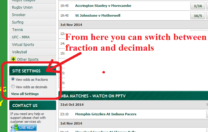 Paddy Power Site Settings Switch Odds Fractions Decimals