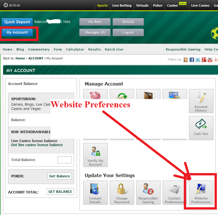 Paddy Power Website Preferences