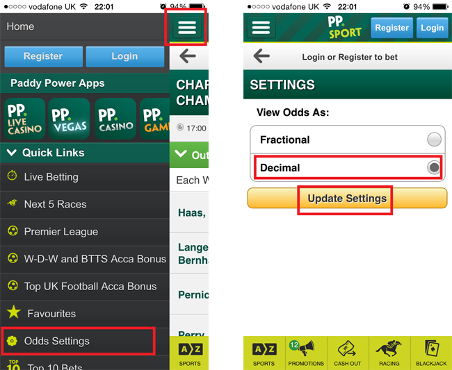Paddy Power iPhone App Odds Settings Fractions Decimals