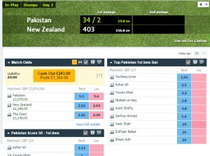 £1,384 profit on the 2nd day of trading on Pakistan v New Zealand 2nd Test at Dubai