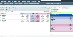 Over £9k of profit on Australia v India 1st Test