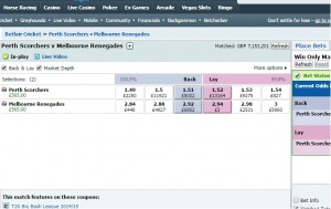 £565 Profit on Perth Scorchers v Melbourne Renegades Big Bash T20 Match
