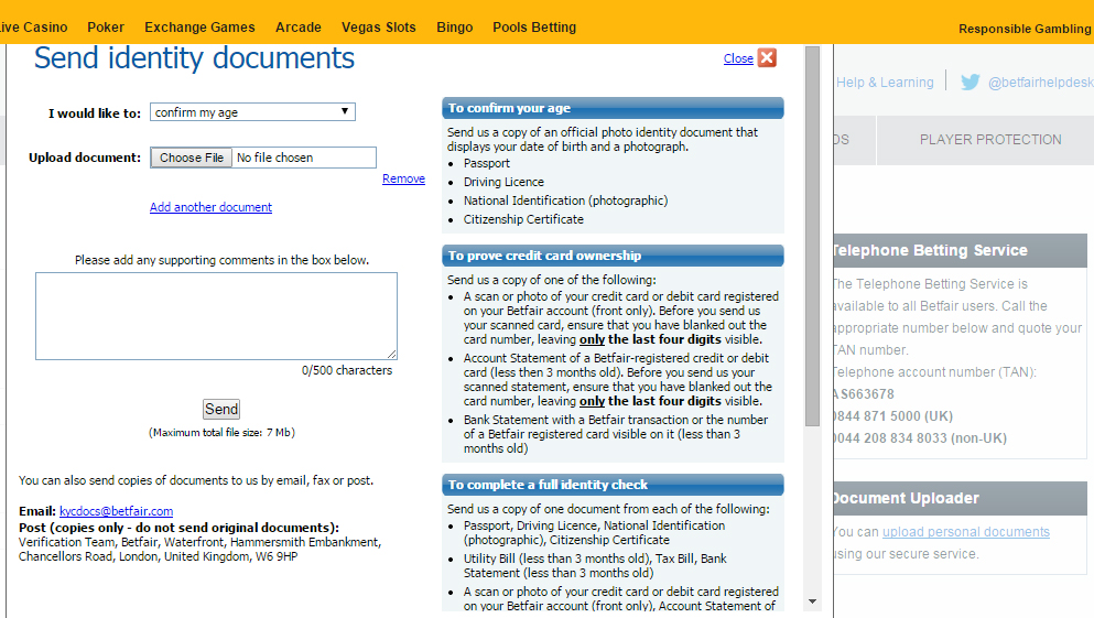 Betfair - KYC - List of required documents