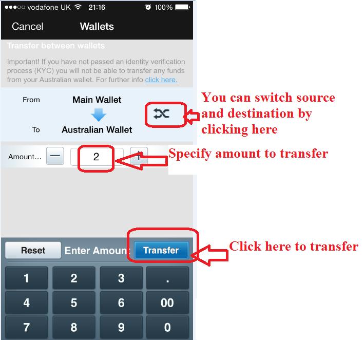 Betfair: Transfer funds between wallets on mobile app
