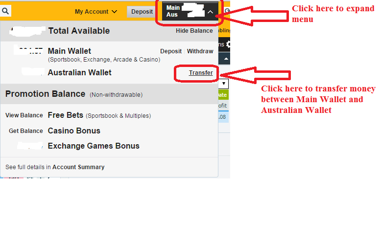 betfair transfer funds main wellet australian wallet