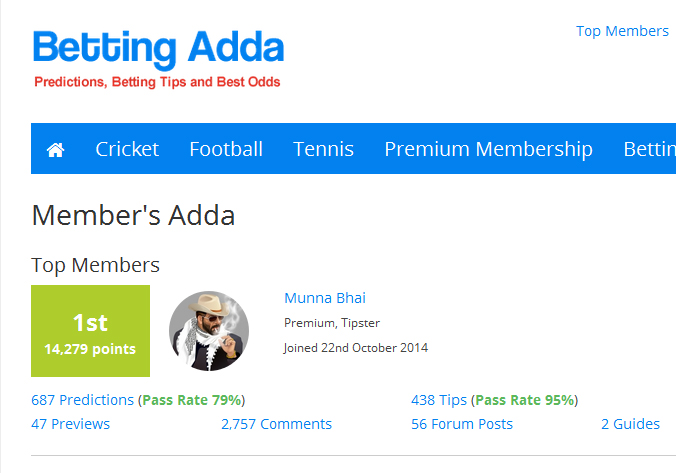I'm no. 1 at Betting Adda